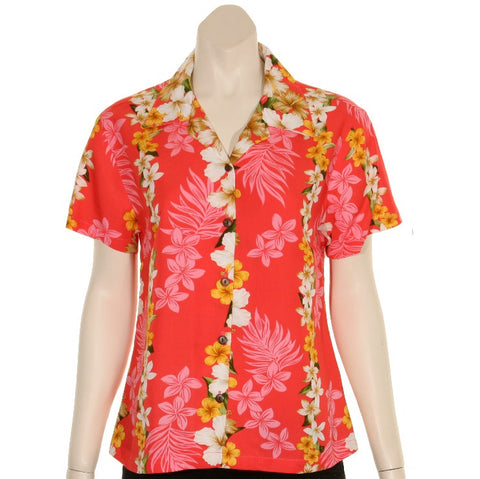 TLL031 - Plumeria Panel Women's Camp Blouse~ Coral