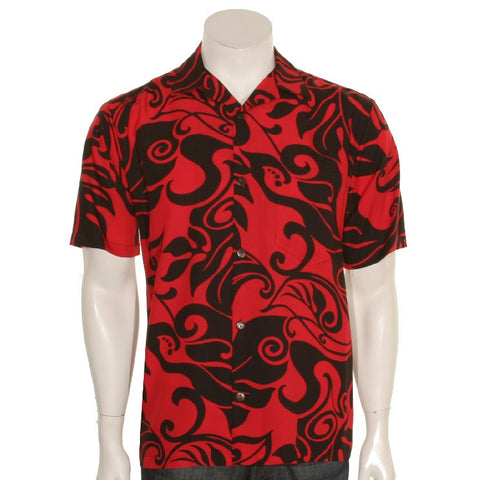 Monstera Swirl Mens Aloha Shirt - Red/Black