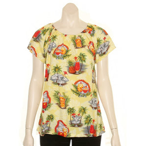 Hilo Hattie Tropical Martini Rayon Women's Peasant Blouse (TT423-70158) - Yellow