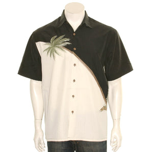 Bamboo Cay Embroidered Hurricane Black - Men's Aloha Shirt (WB80R)