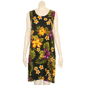 Island Floral Tye Dye Tank Dress (110440) ~ Black Purple