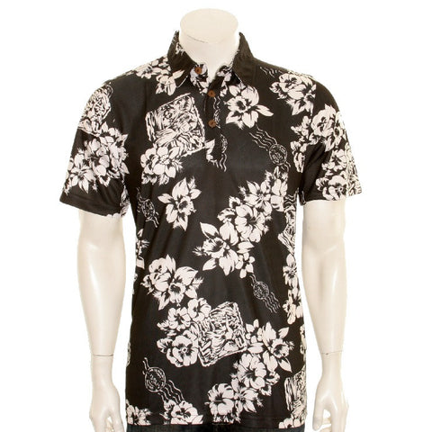 NEW! Floral Postcard Men's Aloha POLO - Black