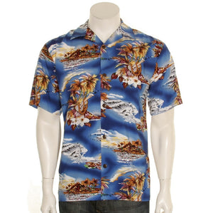 Blue Hawaii Rayon Men's Aloha Shirt(542-p1211)