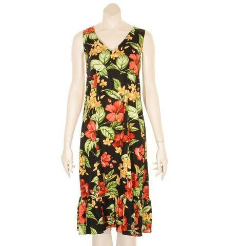 Paradise Floral Sleeveless Short Ruffle Dress ~ Black