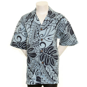 Hilo Hattie Tribal Big Boy's Aloha Shirt -Navy