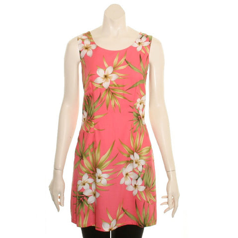 Plumeria Cluster Coral Floral Short Rayon Tank Dress  ~ N420