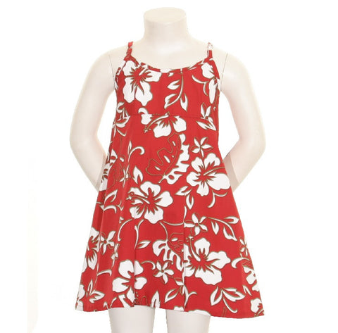Classic Hibiscus Pareo Girls Spaghetti Strap Dress ~ Red