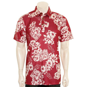 NEW! Floral Postcard Men's Aloha POLO - Maroon