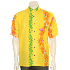 Hilo Hattie 519 Rayon Ohia Men's Aloha Shirt  - Yellow
