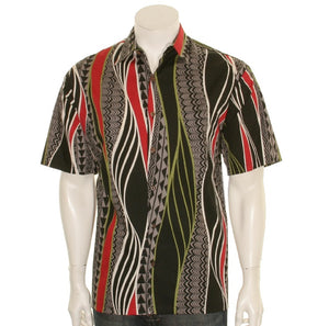 Hilo Hattie 519 Tribal Panel Cotton Men's Aloha Shirt  - Black