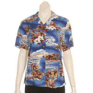 Blue Hawaii Ladies Camp Blouse(N409-P1211)