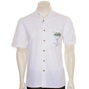 "Bamboo Cay ""Par & Bar"" - Men's Aloha Shirt( WB777)- Off White"