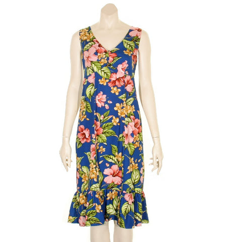 Paradise Floral Sleeveless Short Ruffle Dress ~ Royal Blue