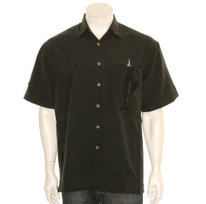 "Bamboo Cay ""Shake The Hook - Black - Men's Aloha Shirt (WB871)"