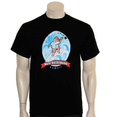 Surfing Santa Men's Tee(SA5-1) ~ Black