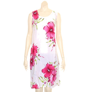 Island Tye Dye Tank Dress(110440) ~ White/Fuchsia