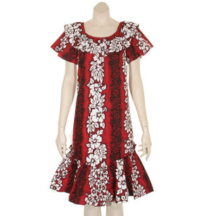 Hibiscus Pareo Panel Double Ruffle Short Muu Muu ~Red