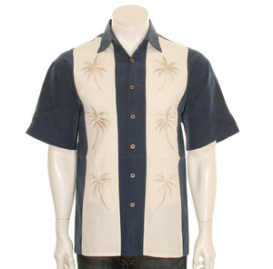 "Bamboo Cay ""Pacific Paneled Palms -"" Navy"" - Men's Aloha Shirt (WB-2002 RE)"