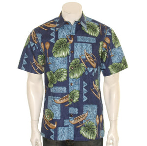 Men's NEW Canoe Reverse Print Aloha Shirt (H60188)~ NAVY