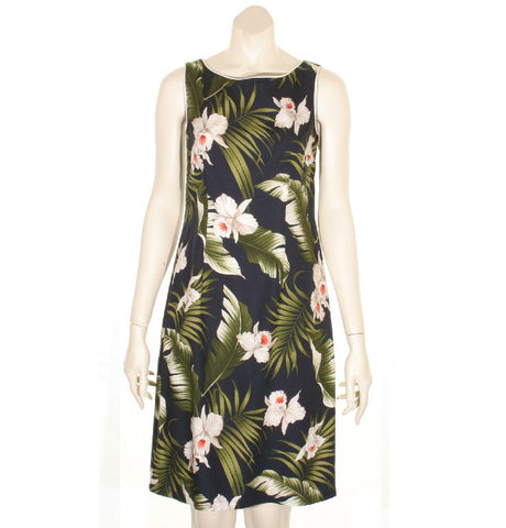 Navy Floral Women's Short Piped Neck Dress