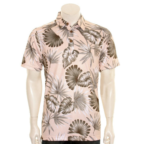 NEW! Palm Monstera Men's Aloha POLO - Beige