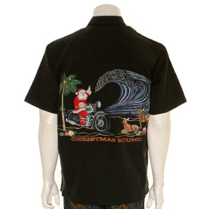Bamboo Cay Christmas Bound - Men's Aloha Shirt (SN317-BLK)- Black
