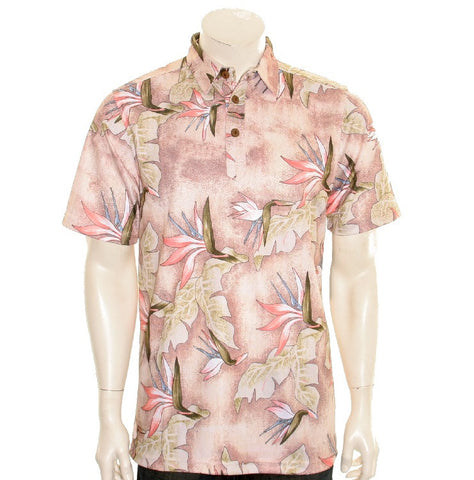 NEW! Bird of Paradise Men's Aloha POLO - Salmon