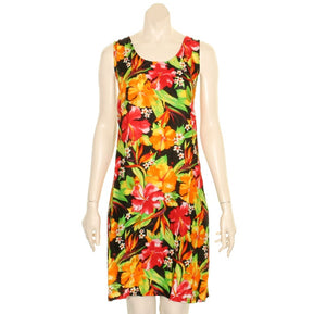 Island Floral Tye Dye Tank Dress (110440) ~ Black Red