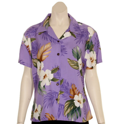 TBD005 - Floral Women's Camp Blouse~ PURPLE