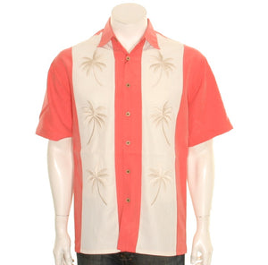 "Bamboo Cay ""Pacific Paneled Palms - Salmon"" - Men's Aloha Shirt (WB-2002 RE)"