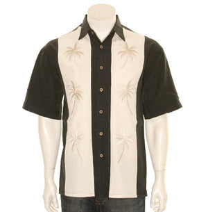 "Bamboo Cay ""Pacific Paneled Palms -"" Black"" - Men's Aloha Shirt (WB-2002 RE)"