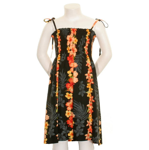 Girls Hawaiian Floral Panel Smock Dress