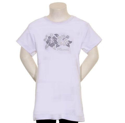 2 White Stone Hibiscus Junior Fitted Tee - CSJ 1-7