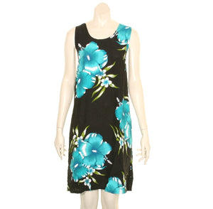 Island Tye Dye Tank Dress(110440) ~Black/Aqua