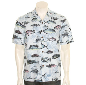 Hilo Hattie  Gone Fishing  Cotton Men's Aloha Shirt ~ Slate Blue