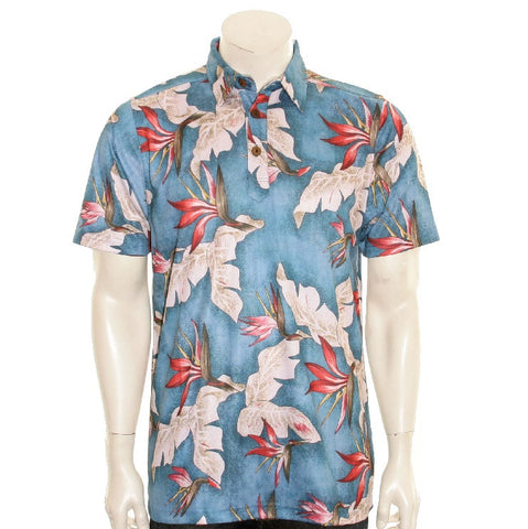 NEW! Bird of Paradise Men's Aloha POLO - Blue