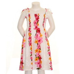 Girls Hawaiian Floral Panel Smock Dress - White