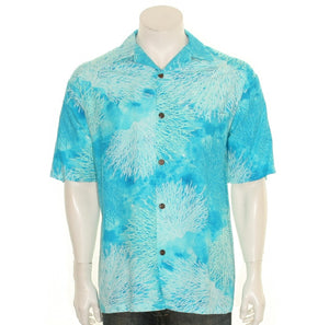 Hilo Hattie Coral Rayon Men's Aloha Shirt (542-GA-17145)- Sea Green