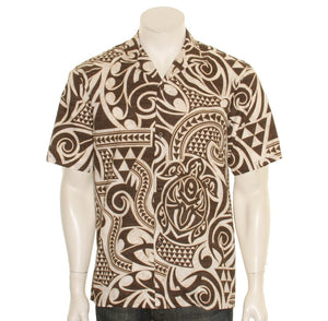 Hilo Hattie Tribal Honu Men's Aloha Shirt-Brown
