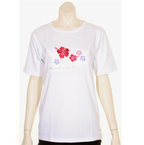 Womens Embroidered Hibiscus Map Tee - 100334