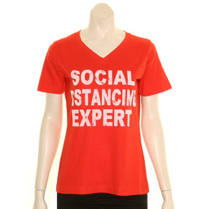 Social Distancing Expert V-NECK Women's T-Shirt - Red