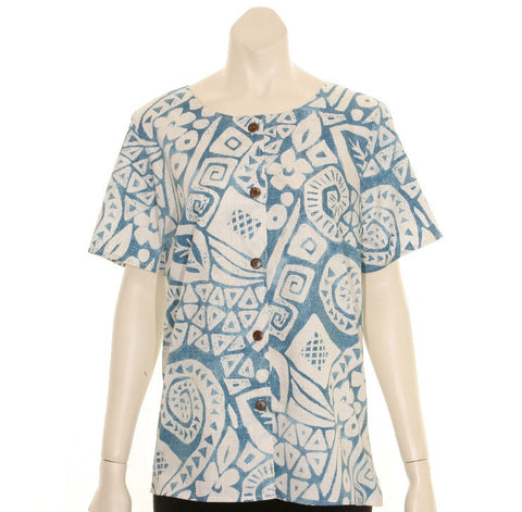 Women's Cotton Island Stamps Round Neck Top ~ Blue