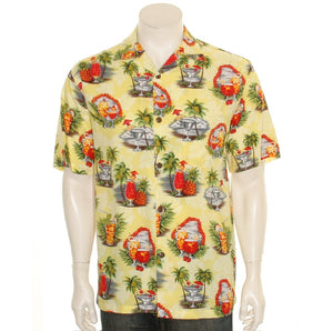 Hilo Hattie Tropical Martini Rayon Men's Aloha Shirt (542-70158)- Yellow