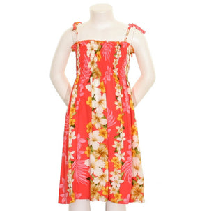 Girls Hawaiian Floral Panel Smock Dress - Peach