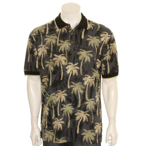 Bamboo Cay - Palm Trees Men's Polo Shirt (KRK-004) - Black