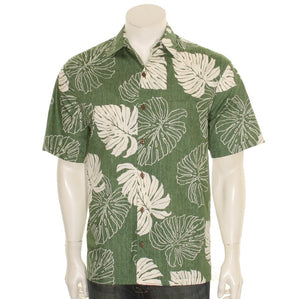 Hilo Hattie 519 Monstera Cotton Men's Aloha Shirt  - Green