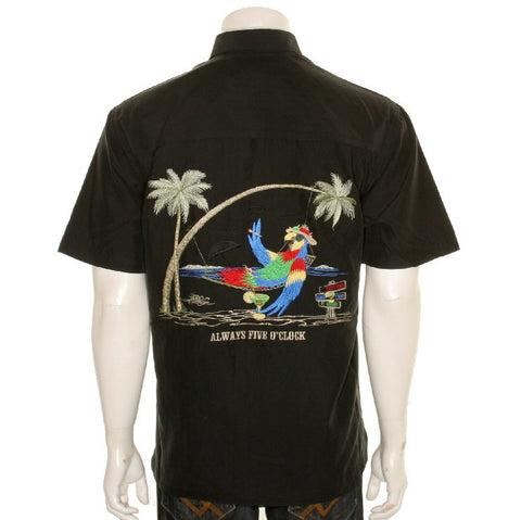 "Bamboo Cay ""Always Five O'Clock"" - Men's Aloha Shirt - Black"