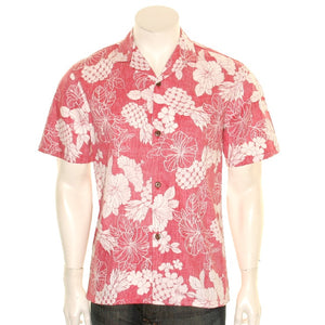 Pineapple and Hibiscus Aloha Shirt - Red