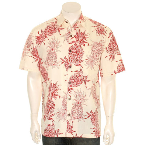 Pineapple Dream Men's Aloha Shirt ~ Red