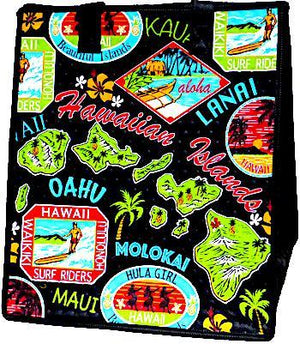 Island Postcards Black  Insulated Hot/Cold Reusable Bag ~ Large